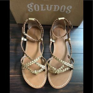 Anthropologie/Soludos gold braided sandals 10